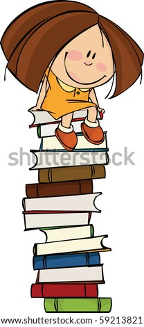 Girl sitting on a big pile of books