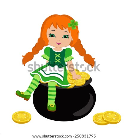 Girl sitting on a pot of gold in the Irish costume, isolated on a white background.  Vector illustration. St. Patrick's Day. - stock vector