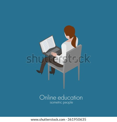 Girl sitting on chair and reading online book isometric vector illustration - stock vector