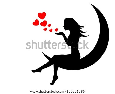 girl sitting on the moon and blows with hands hearts - stock vector
