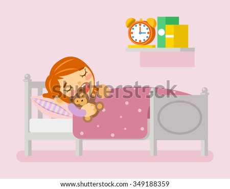 Girl sleeping in the bed under blanket with teddy bear. Vector illustration in flat style - stock vector