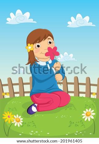 Girl Smelling Flower Vector Illustration - stock vector