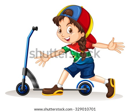 Girl standing next to scooter illustration