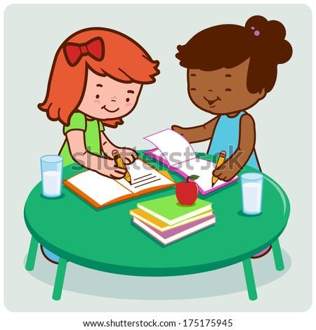 cartoon girl doing homework