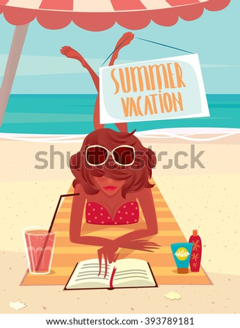 Girl sunbathing on a beach mat on the sea and reading a book - Summer vacation concept. Vector illustration - stock vector