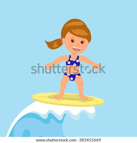 Girl surfer rides the waves. Concept design of a summer holidays by the ocean - stock vector