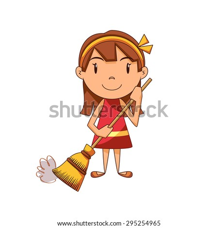 Girl sweeping, vector illustration - stock vector