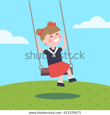 Girl swinging on a rope swing. Modern flat vector illustration clipart. - stock vector