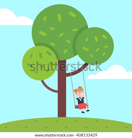 Girl swinging on a tree rope swing. Kid childhood happiness. Modern flat vector illustration clipart. - stock vector