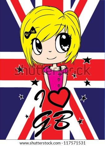 girl / T-shirt graphics / cute cartoon characters / cute graphics for kids / Book illustrations / textile graphic - stock vector