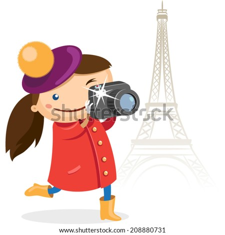 Girl takes pictures on the background of the Eiffel Tower - stock vector