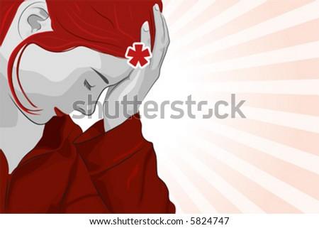 Girl thinking, vector illustration - stock vector