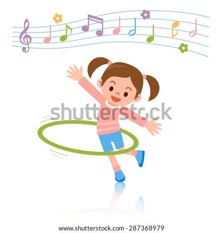 Girl to the hula hoop - stock vector