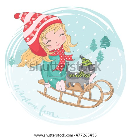 Girl vector,Christmas card,t-shirt print,cartoon character,happy child