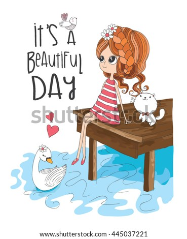 girl vector / it's a Beautiful day / illustration of summer-themed books / T-shirt print - stock vector