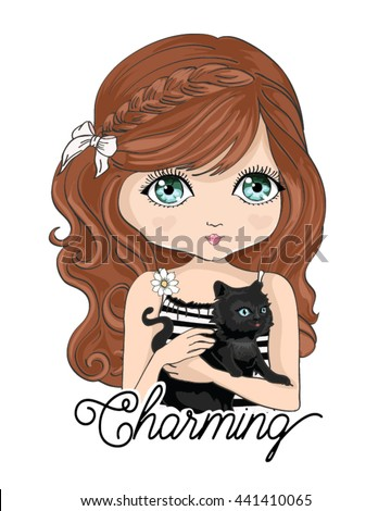 girl vector/T-shirt print/black cat vector/typography design/Book illustrations for children/Romantic hand drawing poster/cartoon character/For apparel or other uses in vector.