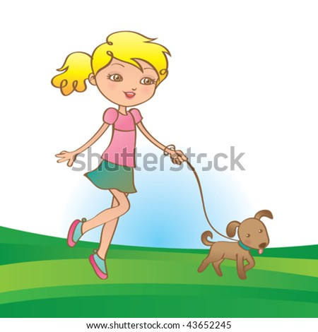Girl walking her little dog. Vector illustration of a cute girls walking her dog in a nice warm day. - stock vector