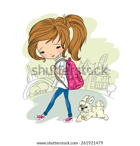 Girl walking with dog, vector illustration. You can easily delete background, all images are on separate layers - stock vector