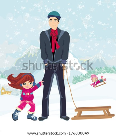 girl wants to ride on a sled - stock vector