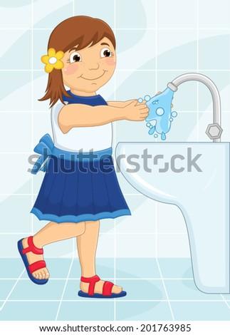 Girl Washing Hands Vector Illustration - stock vector