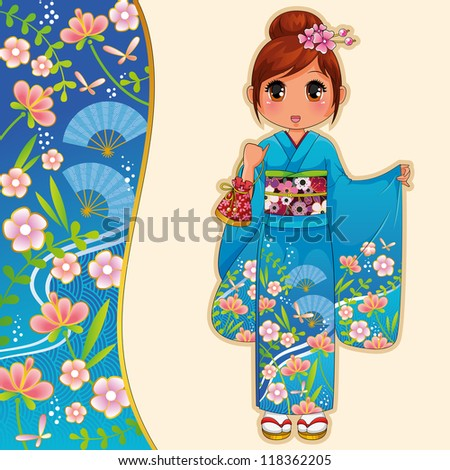 girl wearing kimono next to a matching banner (vector available in my gallery) - stock vector