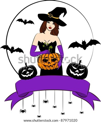 Girl witch with pumpkin in Halloween style. Vector illustration