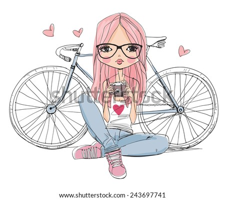girl with a camera and bicycle - stock vector