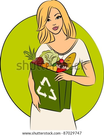 Girl with a shopping bag filled with healthy meal ingredients. Vector