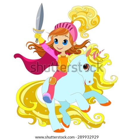 girl with a sword on a magical unicorn / horse / pony / foal. with wings, vector .  Element for design of cards, Baby toys, clothes and other products for children. Vector illustration. Isolated