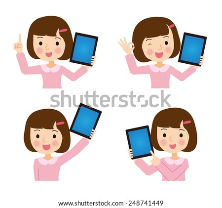 Girl with a tablet  - stock vector
