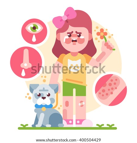 Girl with allergies. Vector flat illustration. - stock vector