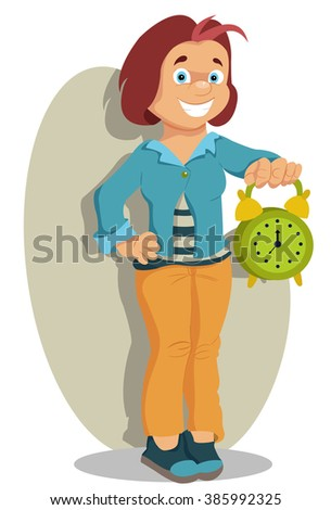 girl with an alarm clock in a hand - stock vector