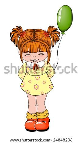 Girl with balloon - stock vector