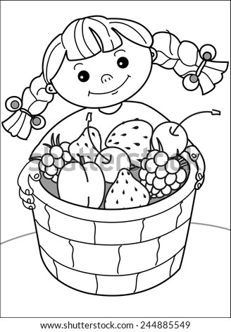 Girl with berries. Little cheerful girl with pigtails holding a basket of strawberries, cherries, raspberries. Coloring page - stock vector