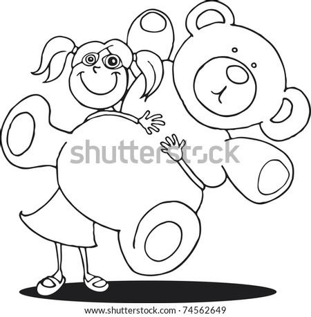 Girl Big Teddy Bear Coloring Book Stock Vector 74562649 - Shutterstock