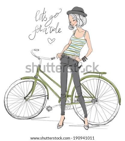 girl with bike - stock vector