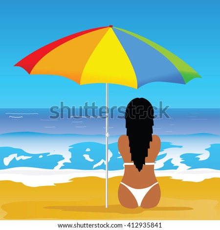 girl with bikini on beach illustration in colorful - stock vector