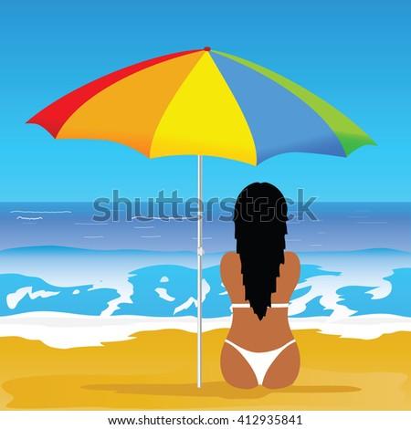 girl with bikini on beach illustration in colorful - stock vector