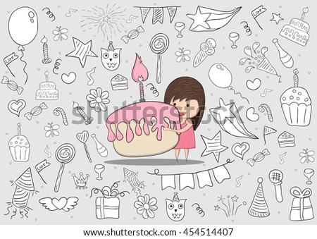 Girl With Birthday Cupcake On Happy Doodles Background Drawing By Hand Vector