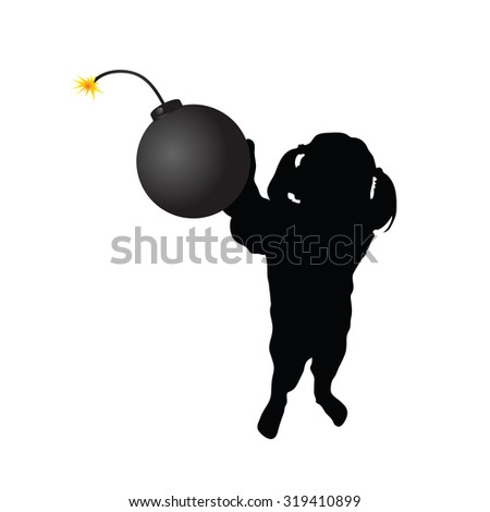 girl with bomb vector silhouette