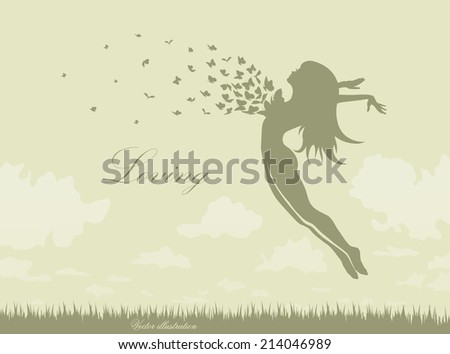 girl with butterflies in a jump - stock vector