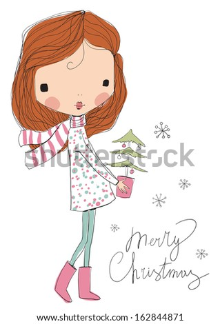 girl with Christmas tree - stock vector