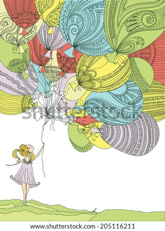 Girl with colorful balloons - stock vector