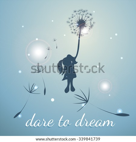 girl with dandelion, dare to dream - stock vector