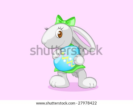 girl with easter egg (editable layers) - stock vector