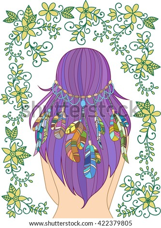 Girl with feathers in her hair and floral pattern, hippie style, line art. Vector. - stock vector
