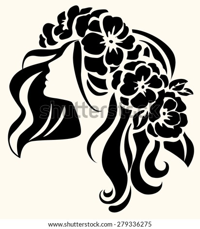 Girl with floral diadem. Vector icon - stock vector
