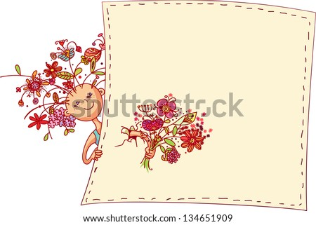 Girl with floral hairstyle with bouquet of flowers in hand. Greeting card - stock vector
