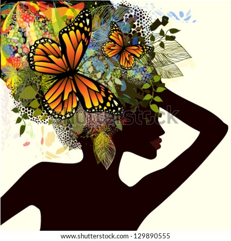 Girl with flowers and butterflies on her head