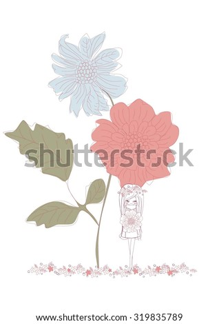 Girl with flowers,vector illustration